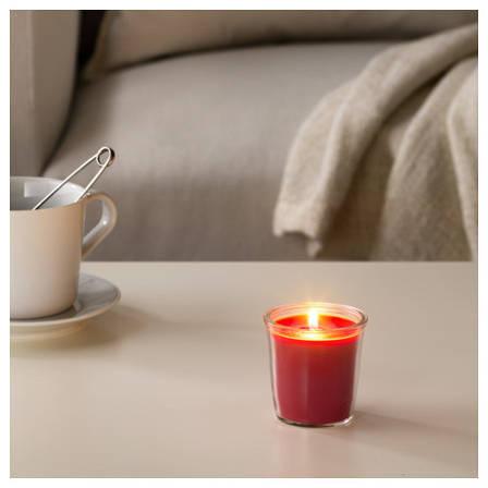 СМОТРЕВЛИГ Ароматическая свеча в стакане, ягодная смесь, красный, 7 см, 70337715, IKEA, ИКЕА, SMATREVLIG, фото 2