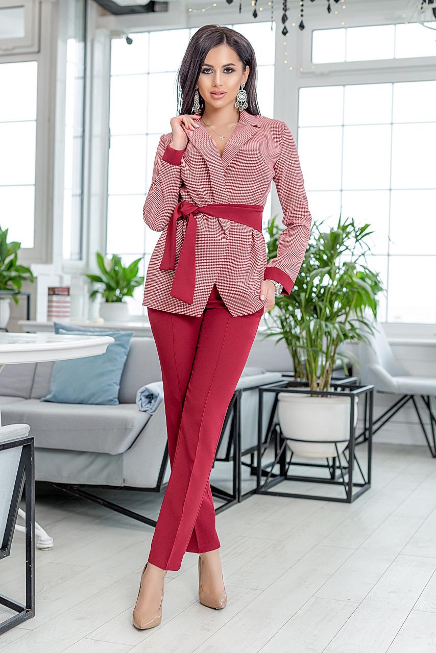 """Деловой женский брючный костюм """"SAMANTA"""" с жакетом в клетку (2 цвета)"""