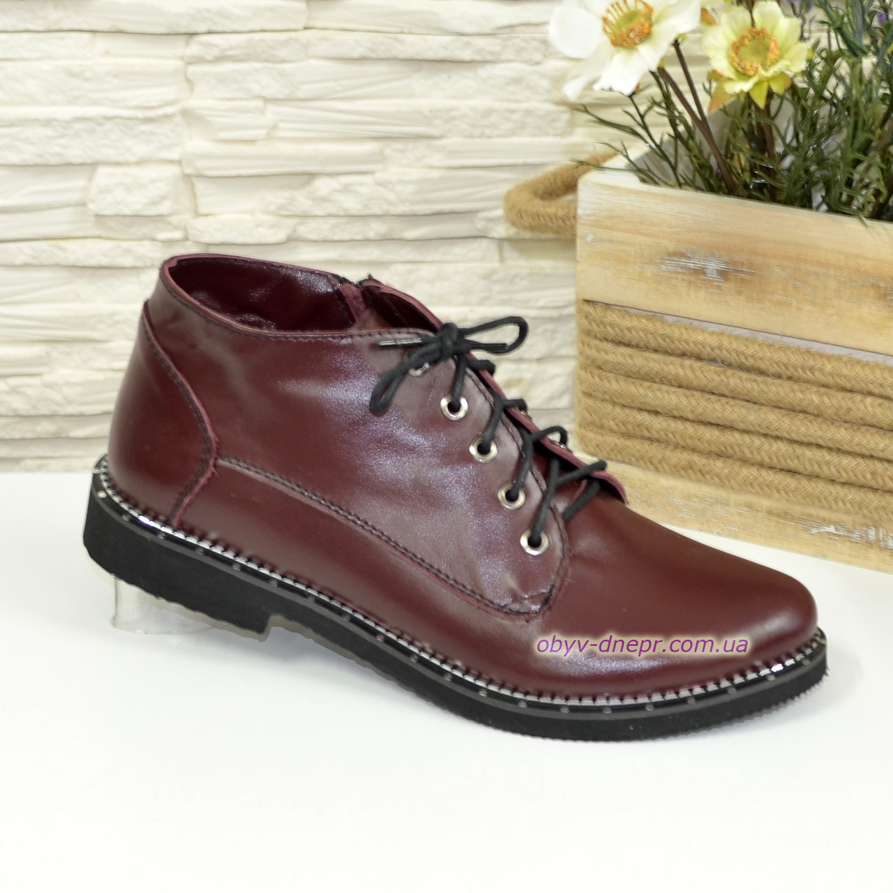 b95752873 Стильные женские демисезонные кожаные ботинки, цвет бордо. 37 размер -  Интернет-магазин