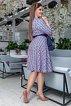 """Приталенное миди-платье креп """"DARLA"""" с карманами и контрастным поясом (большие размеры), фото 3"""