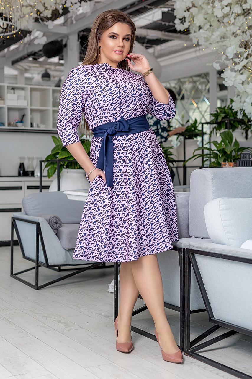 """Приталенное миди-платье креп """"DARLA"""" с карманами и контрастным поясом (большие размеры)"""