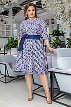 """Приталенное миди-платье креп """"DARLA"""" с карманами и контрастным поясом (большие размеры), фото 2"""