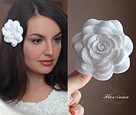 """""""Роза"""" Заколка для волос из полимерной глины 8,5-9-см, фото 1"""