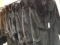 Норковый полушубок поперечка с кожаным корсетом и поясом