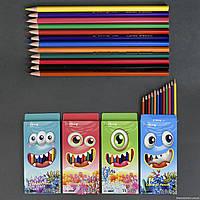 Карандаши цветные 555-670 / YL 83055-12 (240) 4 вида, 12 цветов