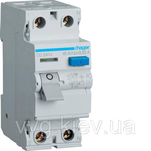 Устройство защитного отключения (УЗО) 2P 40A 30mA AC HAGER