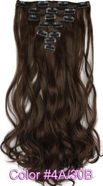 Волосы на заколках трессы набор из 8 прядей волна длина 45см тон №4/30