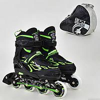 "Ролики 6006 ""M"" Green - Best Rollers /размер 35-38/ (6) колёса PU, без света, d=7см"