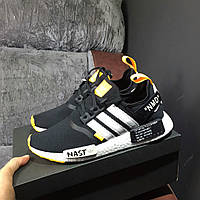Мужские кроссовки Off-White x adidas NMD R1 PK Primeknit Black White Orange