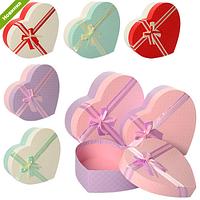 Шкатулка сувенирная, в виде сердца, бант RMT-56305-03-04 (6 цветов,размер:34*27,5*10см)