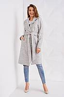 Оригинальное женское пальто светло-серого цвета