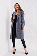 Оригинальное женское пальто тёмно-серого цвета