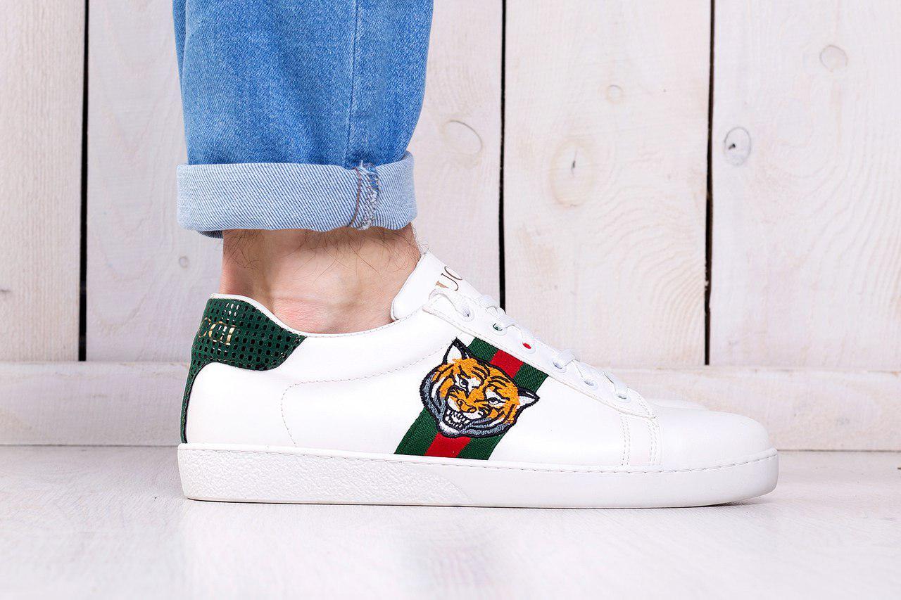 Мужские кроссовки Gucci Tiger белые топ реплика - Интернет-магазин обуви и  одежды KedON в b3d009188ef
