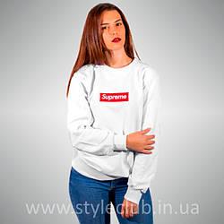 Свитшот с принтом Supreme Box logo Вышитый | женский белый