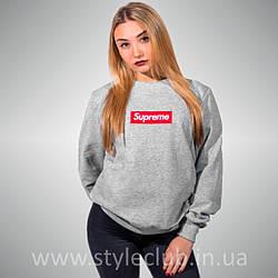 Свитшот с принтом Supreme Box Logo Вышитый | женский серый