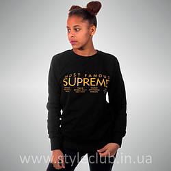 Свитшот с принтом Supreme Most Famous| женская чёрная