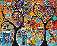 Картина по номерам KH2827 Зимний городок (40 х 50 см) Идейка