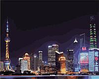 Картина по номерам KH3507 Ночной Шанхай (40 х 50 см) Идейка