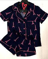 Женская пижама рубашка и шорты выполнена из мягкой невесомой ткани