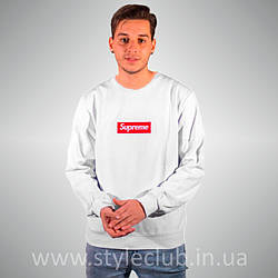 Свитшот Supreme Белый | Вышитый Box Logo