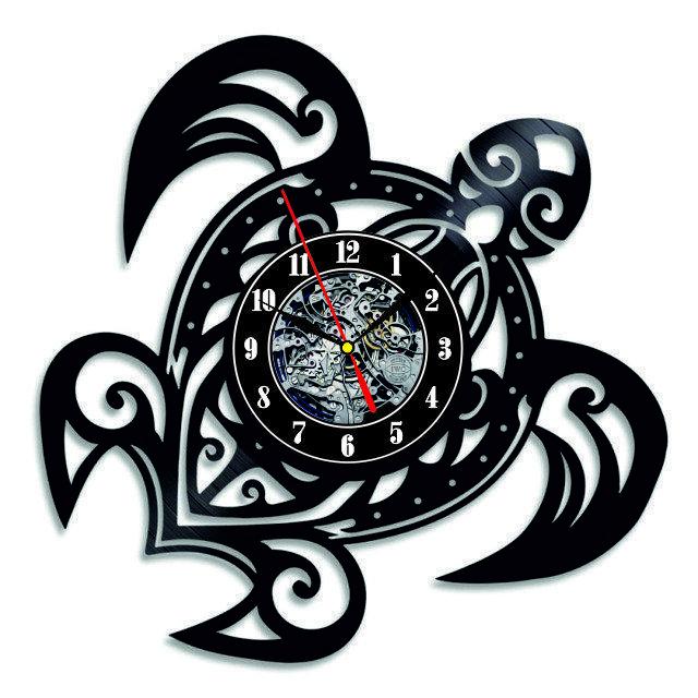 Настенные часы из виниловых пластинок LikeMark Turtle