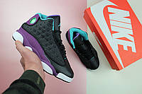 """Кроссовки женские Nike Air Jordan 13 Retro GS """"Black/Atomic Teal-Ultraviolet"""" / NR-AJW-218 (Реплика)"""