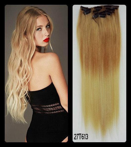 Волосы на заколках ТЕРМо набор из 8 прядей длина 60см №8т16 омбре светло-русый