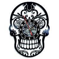 Настенные часы из виниловых пластинок LikeMark Skull