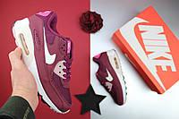 "Кроссовки женские Nike Air Max 90 Essential ""Maroon Villian Red"" / NR-90AMW-777 (Реплика)"