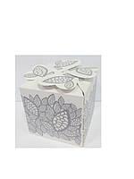 Упаковочная коробочка декоративная серебряный ажур