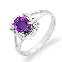 Золотое кольцо с аметистом и бриллиантами 0,04 карат