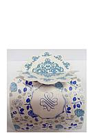Упаковочная коробочка декоративная голубые розы
