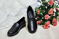 Женские кожаные балетки-туфли черные. Украина