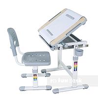 Комплект FunDesk Парта-мольберт 47х66 см и стул-растишка для детей 3 - 10 лет ТМ FunDesk Серый BAMBINO GREY