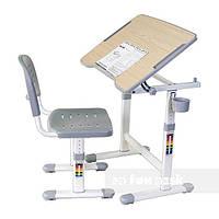 Комплект Парта с наклонной столешницей и стул-трансформеры для детей 3 - 10 лет ТМ FunDesk Серый PICCOLINO ІІ GREY