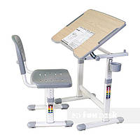 Комплект Парта с наклонной столешницей и стул-трансформеры для детей 3 - 10 лет ТМ FunDesk PICCOLINO ІІ GREY