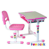 Комплект растущей мебели - домашняя парта 47х66 см и стул для детей 3 - 10 лет ТМ FunDesk Розовый PICCOLINO PINK