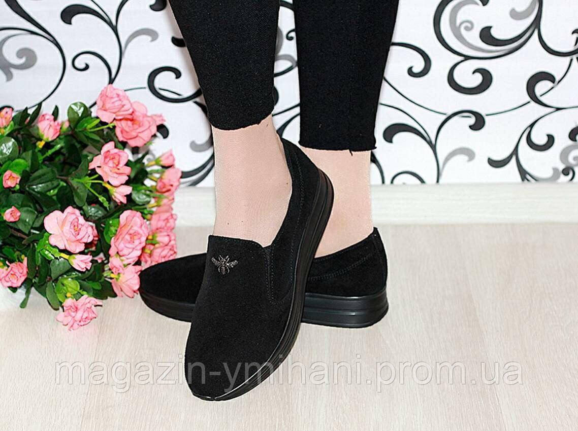 16217233ad4a Женские замшевые балетки-туфли черные. Украина - Интернет-магазин