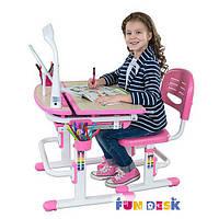 Комплект-растишка Парта 70х55 см с наклонной столешницей и стул для детей 3 - 12 лет ТМ FunDesk Sorriso Pink