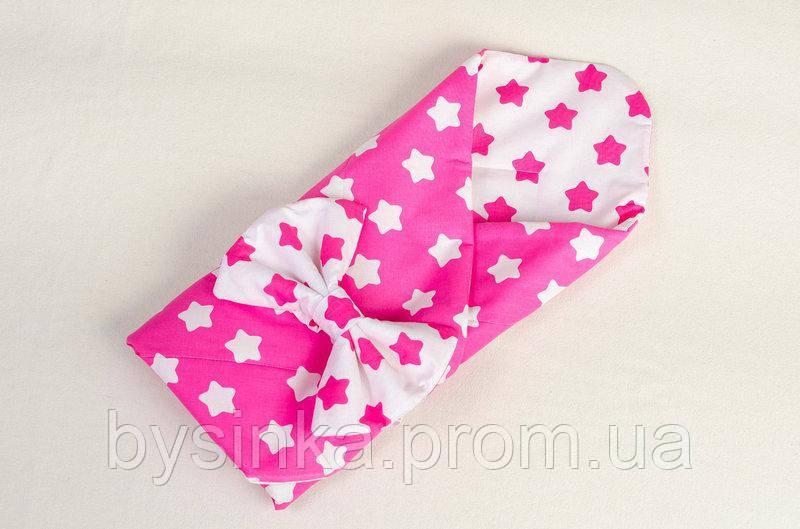 Конверт летний на выписку BabySoon Розовые звезды 80 х 85см розовый (017)