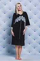 Велюровый женский халат с кружевом черный