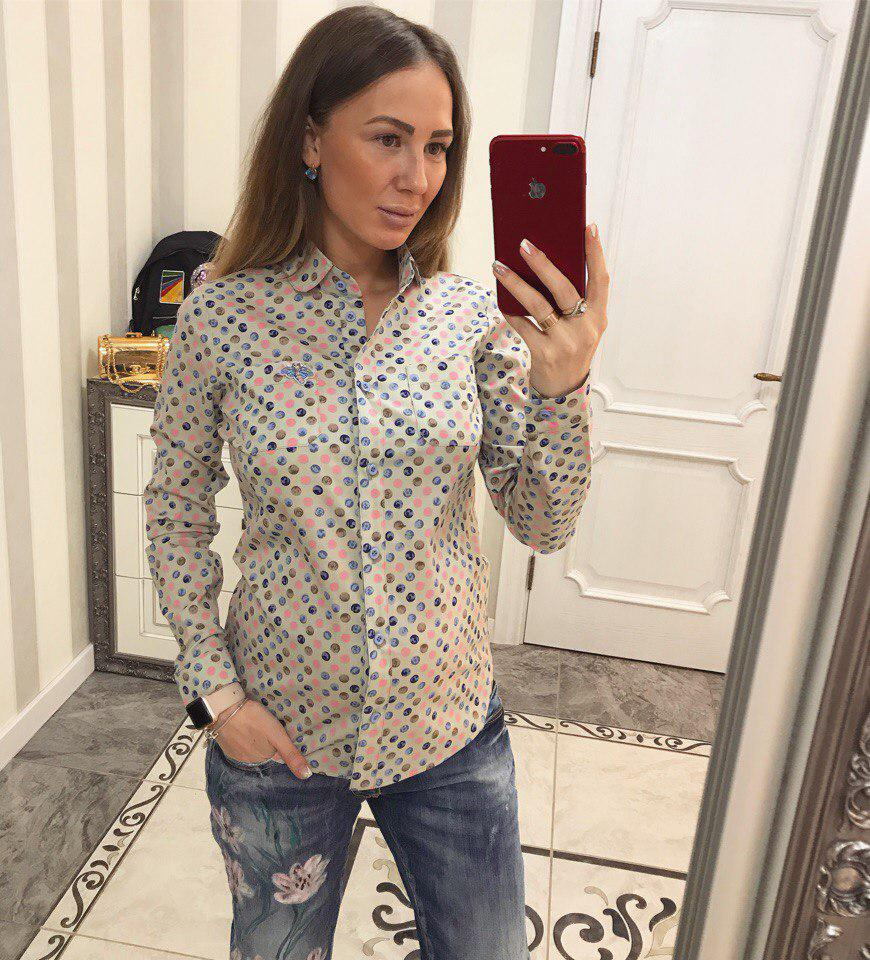 Хлопковая женская рубашка в принт 3313102