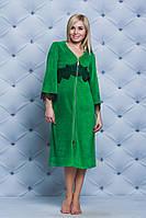 Велюровый женский халат с кружевом зеленый, фото 1