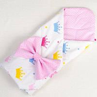 Летний конверт - одеяло BabySoon Принцесса 80 х 85 см розовый (019), фото 1