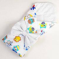 Детский конверт для новорожденных летний BabySoon Совы в наушниках 80 х 85 см (020)