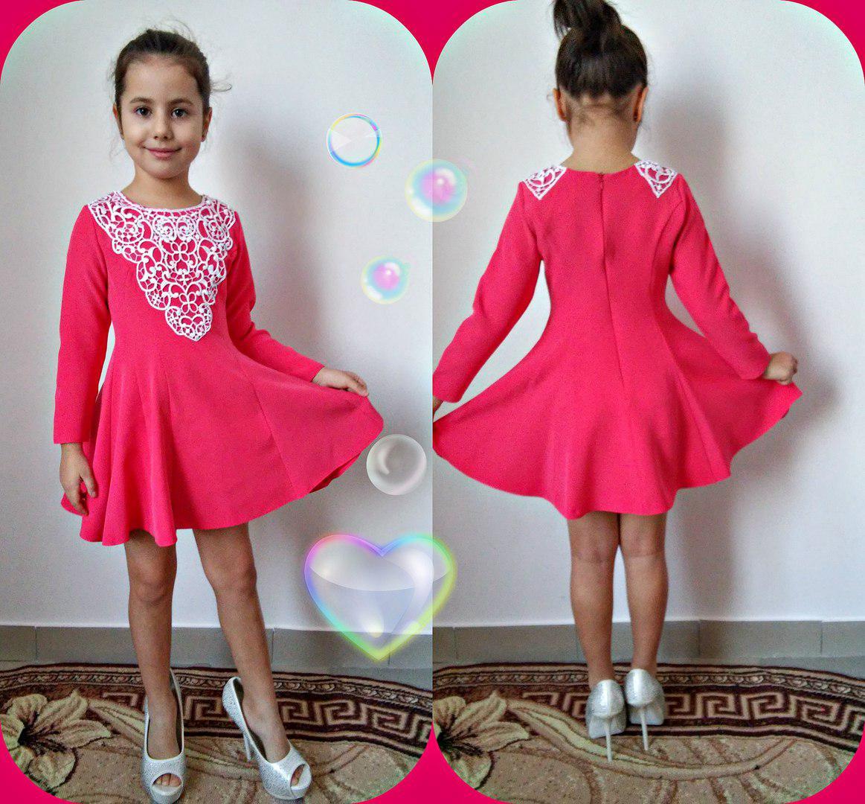 """Расклешенное детское платье """"Алинка"""" с кружевом и длинным рукавом (2 цвета)"""