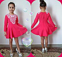 """Расклешенное детское платье """"Алинка"""" с кружевом и длинным рукавом (3 цвета)"""