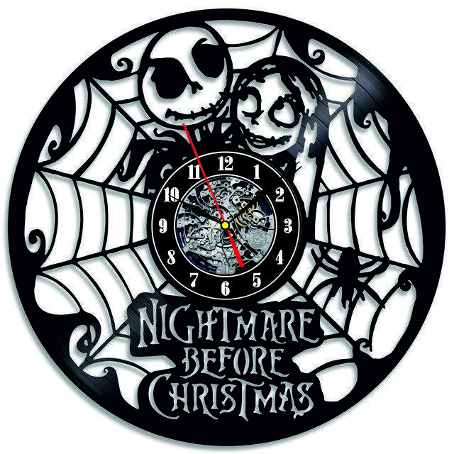 Настенные часы из виниловых пластинок LikeMark The nightmare before christmas 3