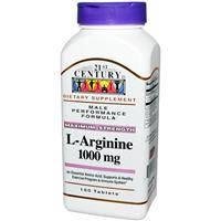 L- аргинин, 21st Century Health Care, 1000 мг, 100 таблеток