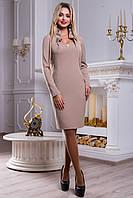 Элегантное платье кофейного цвета с брошкой 2463